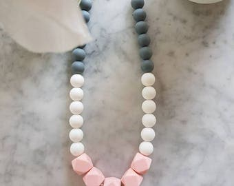 Pink, white and charcoal sensory necklace