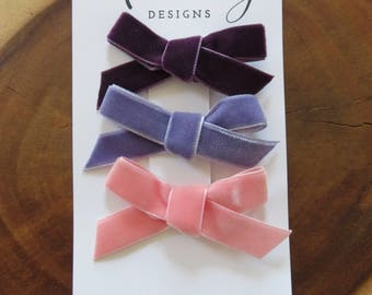 "The ""Pink and Purples"" Velvet Bow Set"
