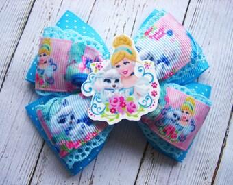 Cinderella Hair Bow Cinderella Birthday Party Cinderella Layered Hair Bow Cinderella Dress Disney Princess Cinderella Hair Clip