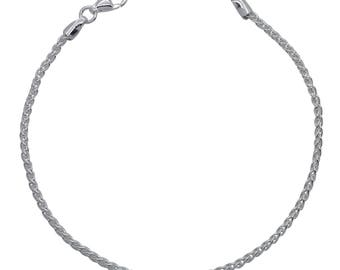 "Sterling Silver Spiga Bracelet 1.9mm 6.5"" 7"" 7.5"" inches"