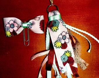 Pastel Flowers Planner Clip and Tassel Set