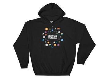Crypto Trader Hooded Sweatshirt // Cryptocurrency Hoodie // Bitcoin Blockchain Sweatshirt // Stellar Bitcoin Ethereum Ripple Litecoin Logo