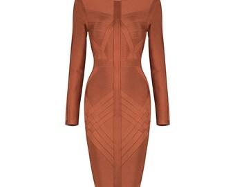 Brown Long sleeve Bandage Rayon Dress size Medium