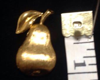 Vintage Crown Trifari gold tone pear pin /brooch .
