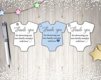 Thank You Tags, Baby Shower Tags, Printable Tags, Blue Tags, Instant Download