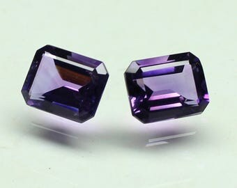 AAA Natural Amazing  purple African Amethyst Size 8x6 MM faceted 2 PCs Lot Octagon CODE :- AQ27