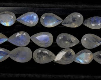 Natural Rainbow Moonstone Flash fire Size 6x9 MM Approx 15 PCs Lot Faceted Pear Code- HR23