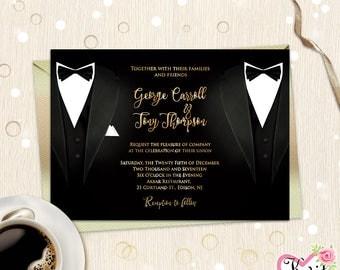 gay wedding invitation card groom invite lgbt groom groom mr mr - Same Sex Wedding Invitations