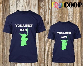 Yoda Best Dad & Son Matching T-Shirt Set Father Personalised Star Wars Style