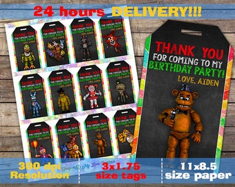 Five Nights at Freddy's thank you tags,12 DESIGNS, Five Nights at Freddy's thank you, FNAF thank you tags, favor tags, fnaf thank you tag,