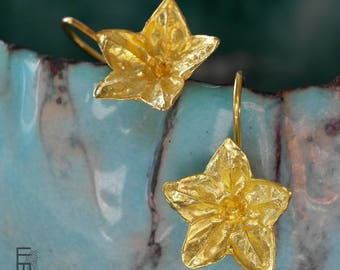 New Flower-Silver earrings with 22kt gold bath, molded from a real flower-earrings with lots of detail and very romantic