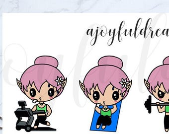 Chibi Elf - Workout - Exercise Planner Stickers