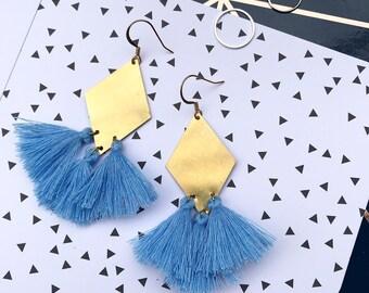 Geometric Diamond Tassel Drop Earrings |  Blue Gold & Brass