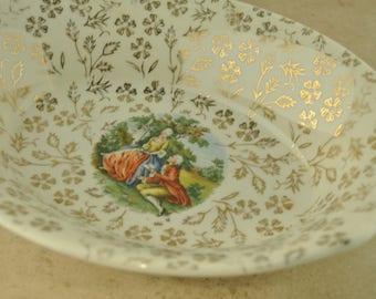Atlas China Made in USA 22 Karat Gold Oval Bowl