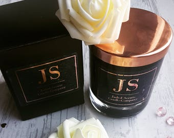 Black Glass Rose Gold Top 30cl Candle