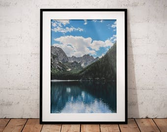 Lake Braies, Mountain Lake Decor, Alpine Lake Print, Water Printable Art, Alps Pragser Wildsee Clouds, Nature Photography, Dolomite Wall Art
