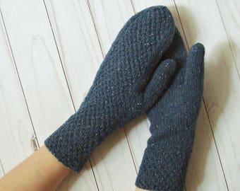 Hand Knit Gloves- Knitted Mittens- Elegant womens mittens- Fall Mittens- Autumn Mittens- Tweed Mittens- Blue handknit mittens- Women Mittens