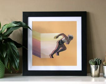 Colour Run - Digital Collage Art Print Poster