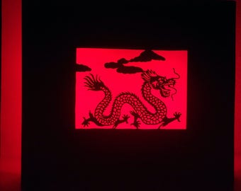 Red Dragon. Bright frame style kirigami. Dragon motif. Gm battery powered led lighting. 100% handmade :).