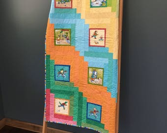Animal Baby Quilt- Handmade- Animals at the Park- Log Cabin Panel Quilt
