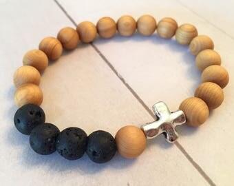 Sandalwood + Lava Stone Cross Diffuser Essential Oil Bracelet