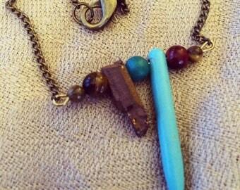 Raw stone charm necklace