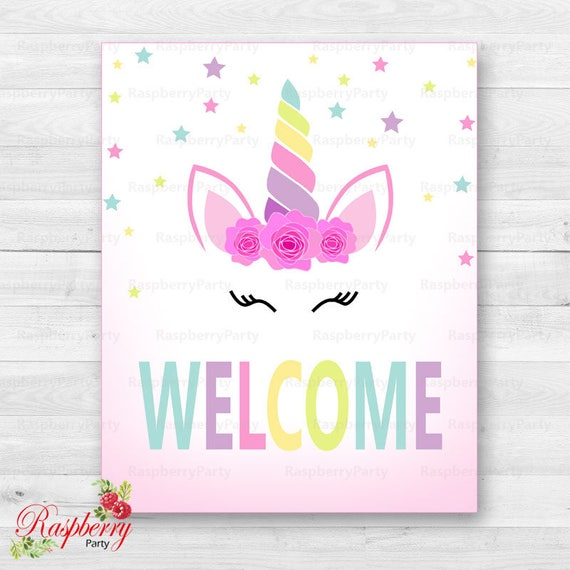 Unicorn Welcome Sign Unicorn Sign Welcome Sign Birthday