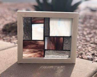 Hand crafted stained glass in hand made frame
