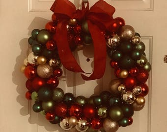 Multicolored holiday ornament wreath  18""