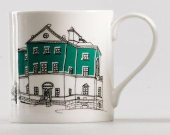 Staffordshire fine bone china mug green