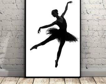 Ballerina Print, Ballet Print, Ballet Art, Wall Art Print, Ballet Decor, Ballet Dancer, Black and White, Printable Wall Art, Ballet Poster