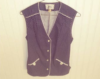 Vintage 1980s to 1990s Womans Vest. Blue with White Polk a dots. Medium. Rockabilly and Pin up Style.