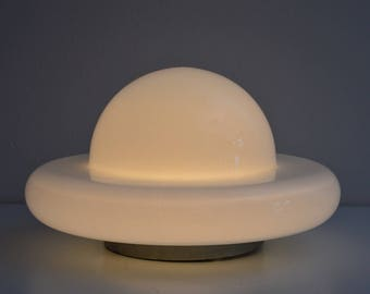 Murano glass flush mount lighting, plafonier, wall sconce or ceiling lamp, Flying saucer,  Made in Italy, 1970, design lamp,