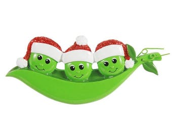 New Peapod Family Of 3 Personalized Christmas Ornament