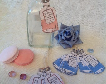 """Set of 8 labels scrapbooking """"Potion of love"""" made on white cardstock with stamp"""