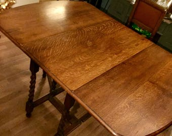 Large Oak Drop Leaf Barley Twist Gate Leg Table