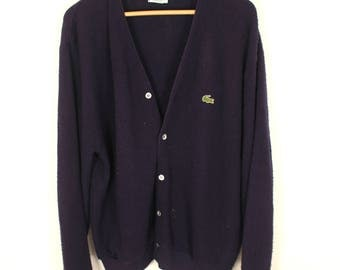 Vintage Lacoste Navy Blue Knit cardigan sweater. great condition. Mens button up sweater. free shipping