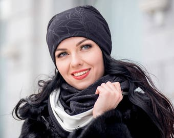 Black Set Cloche Hat and Infinity Scarf Large Wraparound Warm Winter Beanie Neckwarmer Scarf Christmas Gift For Her
