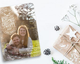 """Christmas Card 5""""x7"""" Design Customized With Your Information and Image"""
