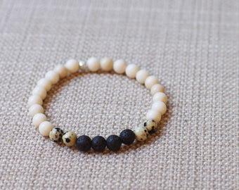 Fossil Jasper / Dalmatian Jasper / Lava Diffuser Bracelet