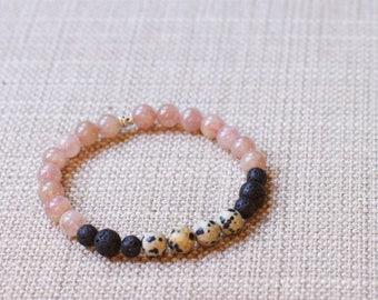 Strawberry Quartz / Dalmatian Jasper / Lava Diffuser Bracelet