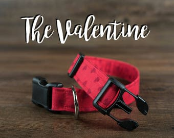 The Valentine - Fabric Dog Collar - Adjustable Collar - Custom Fabric