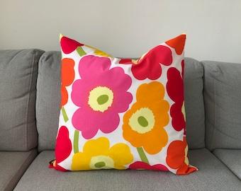"Handmade Marimekko Unikko Pink Orange Red Floral Throw pillow case, Accent cushion cover 20"" 50cm, Finnish Design"