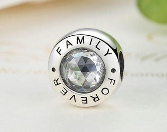 Family Forever Charm Beads  Fit European & Pandora Charm Bracelet Authentic Sterling Silver Authentic Luxury Jewelry