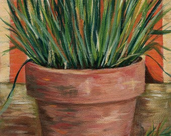 Van Gogh Chives Study 6x8 Acrylic Painting