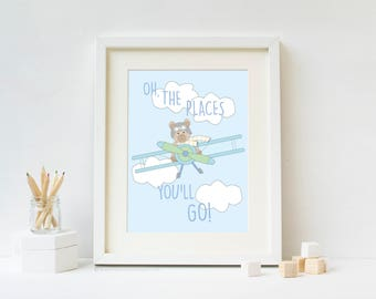Oh, The Places you'll Go - Travel Nursery Art Print