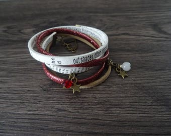 MULTISTRAND white and red leather wrap bracelet