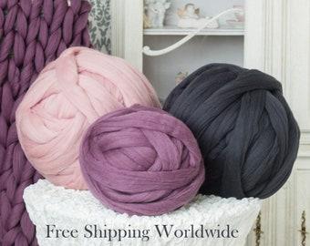 Chunky Yarn SALE! Merino Wool Yarn Giant Yarn Super Bulky Yarn For DIY Arm Knitting Chunky Knit Blanket, Throw Blanket, Scarf. Gift For Mom