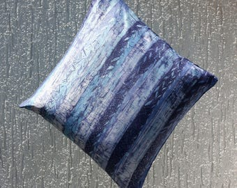 Silk batik Decorative Pillow: blue Shades
