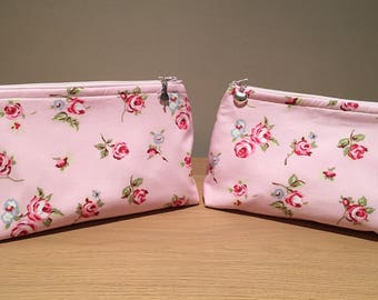 pink make up bag, floral make up bag, cosmetics bag, zipped bag